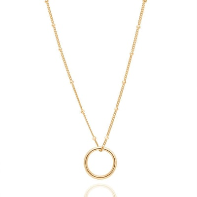 Basic Halo Pendant Necklace in Gold