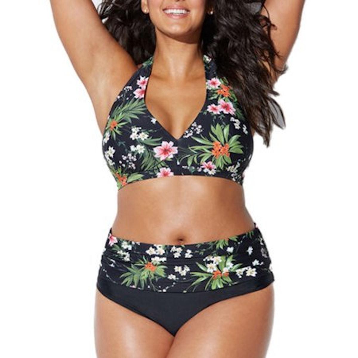 Women Plus Size Bikini Set Two Piece Push Up Padded High Waist Swimsuit