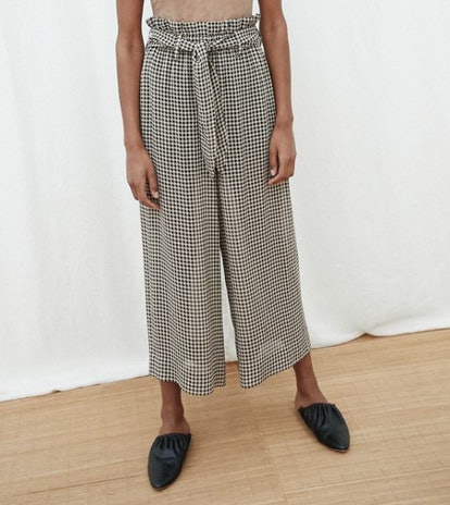 INES Paperbag Checked Waist Pants