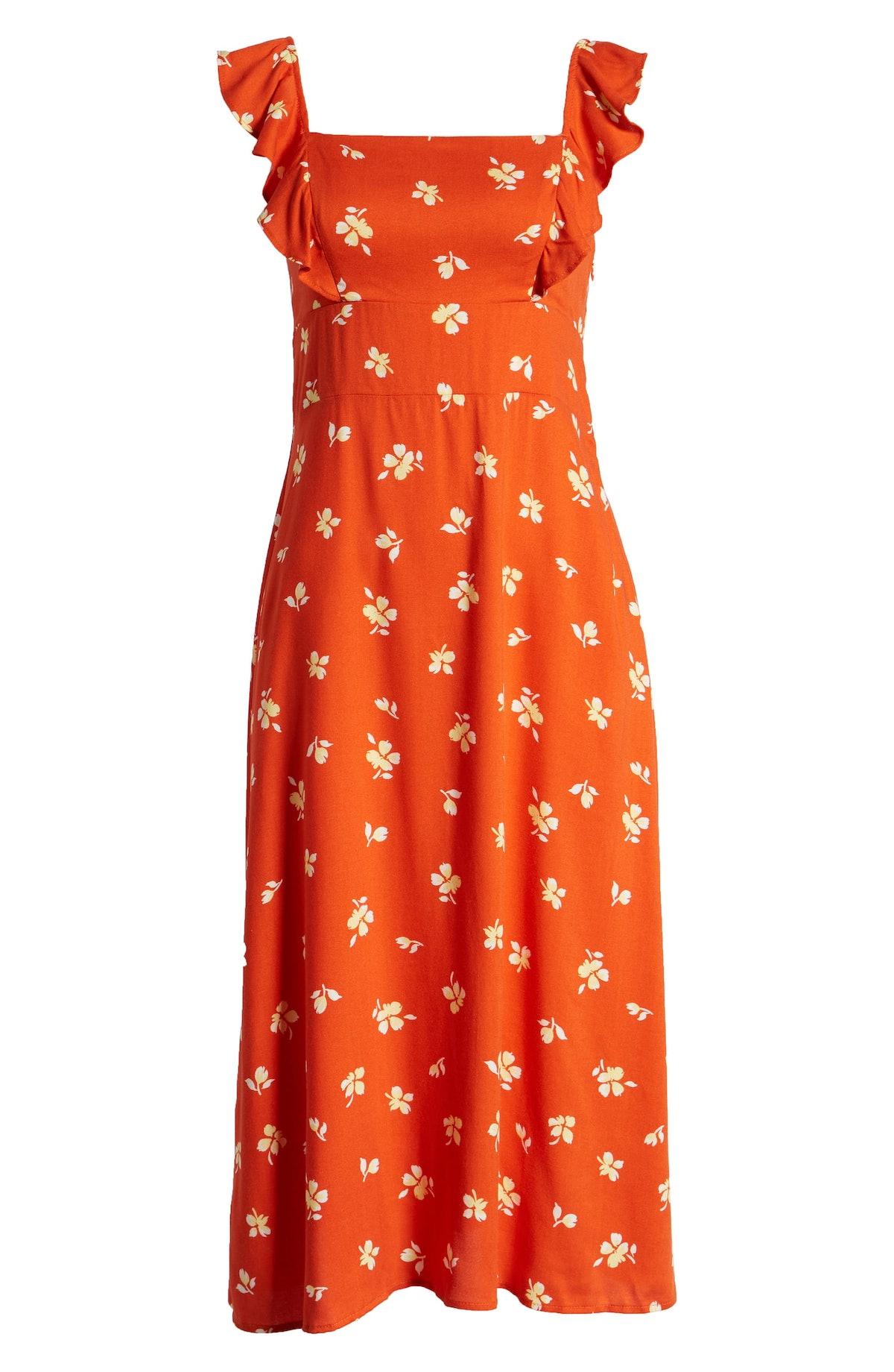 Leith Ruffle Front Square Neck Midi Dress