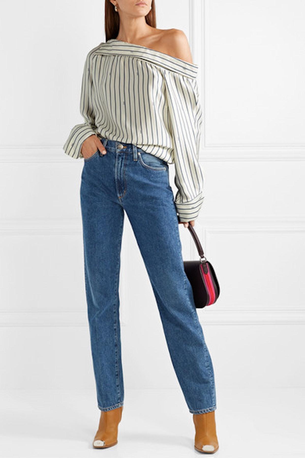Oversized One-shoulder Pinstriped Satin Shirt