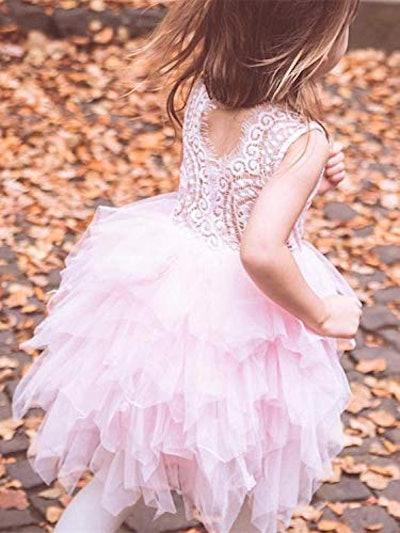 Tiered Tutu Tulle Flower Girl Dress