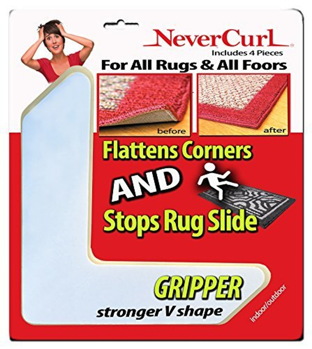 StepNGrip NeverCurl Rug Gripper (4 Pieces)