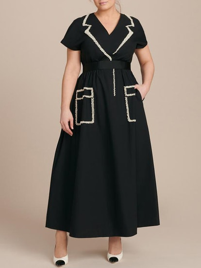 Roza Cotton Dress with Pearl Embellishment