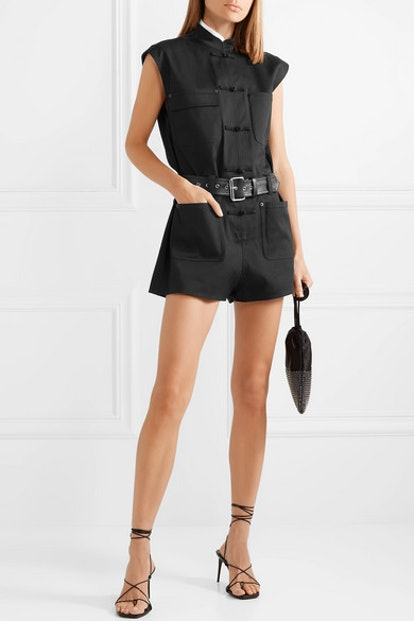 Belted Cotton-Blend Twill Playsuit