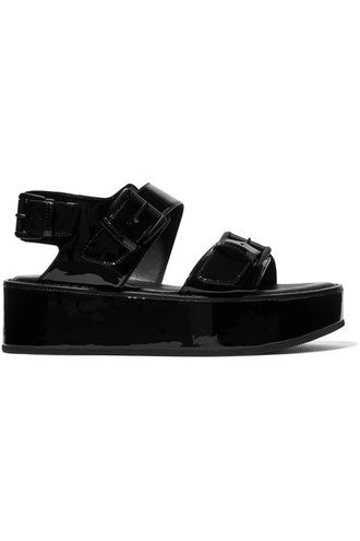 Buckled Patent-Leather Platform Sandals