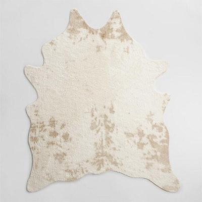 Ivory Printed Faux Cowhide Area Rug
