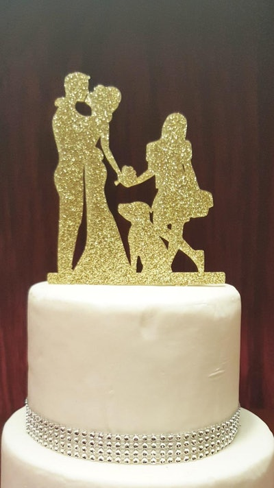Glitter Silhouette Wedding Cake Topper