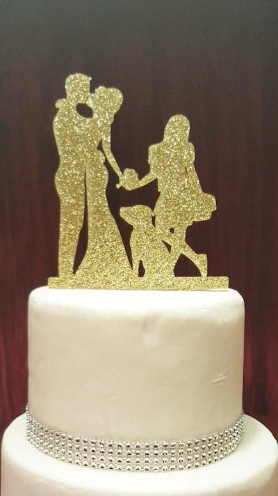 Glitter Silhouette Wedding Cake Topper