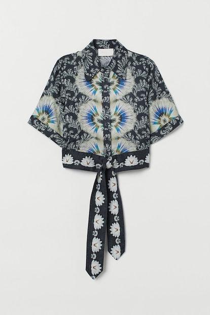 Patterned Linen Blouse