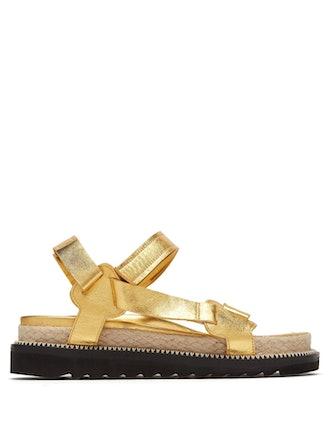 Metallic-Leather Sandals