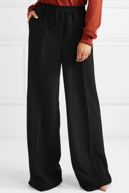Wide-Leg Crepe Pants