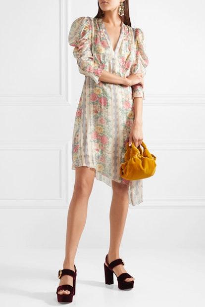Whisper Rose Floral-Print Asymmetric Satin Dress