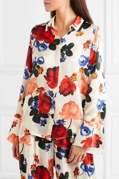 Vera Faux Pearl-Embellished Floral-Print Silk-Satin Shirt