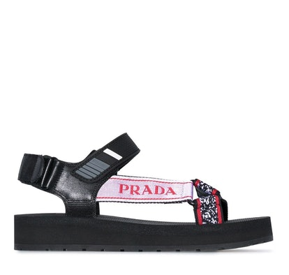 Black Logo Embroidered Flat Leather Sandals