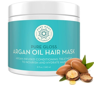 Pure Body Naturals Argan Oil Hair Mask, 8 Ounces