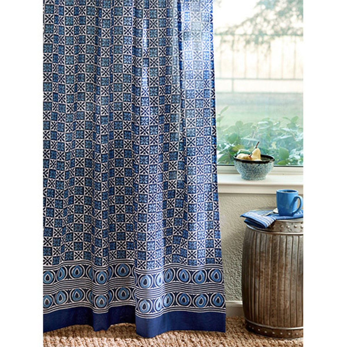 Starry Nights Blue Batik India Sheer Curtain Panel