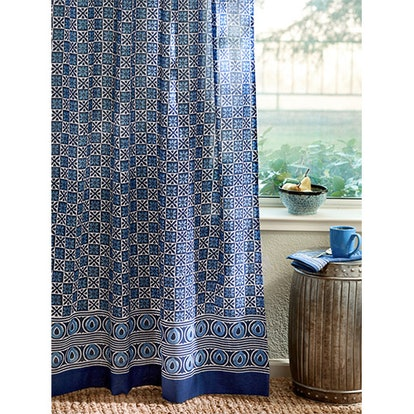 Starry Nights Blue Batik India Sheer Curtain Panel