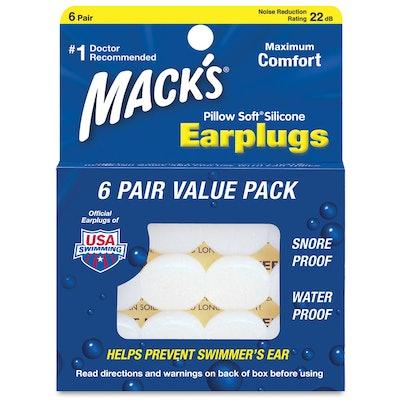 Mack's Pillow Soft Silicone Earplugs (6 Pairs, 2 Packs)