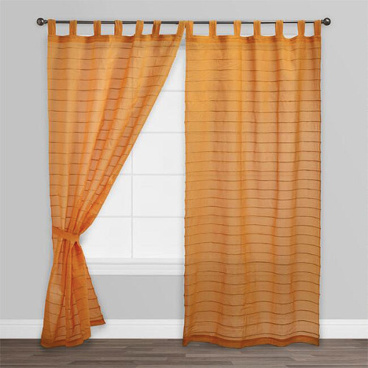 Amber Striped Sahaj Jute Tab Top Curtains, Set Of 2