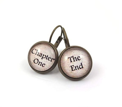 Book Lover Chapter One and the End Earrings in Antique Bronze