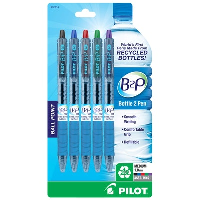 Pilot Bottle 2 Pen (B2P) Retractable Ball Point Pens Made From Recycled Bottles (5-pack)