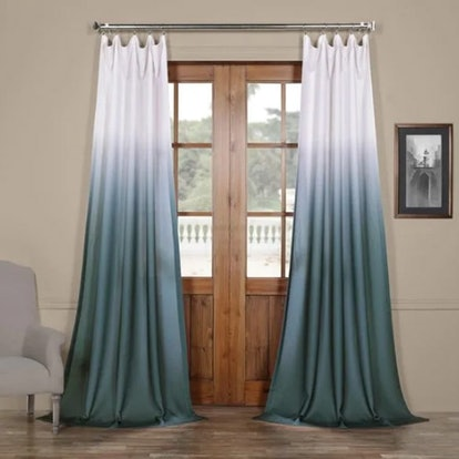 Ombre Faux Linen Semi Sheer Curtain