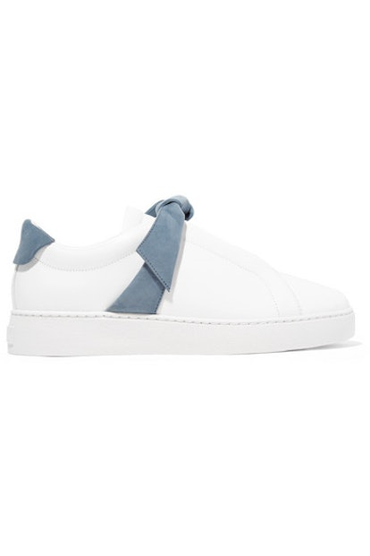 Clarita Bow-Embellished Suede-Trimmed Leather Slip-On Sneakers