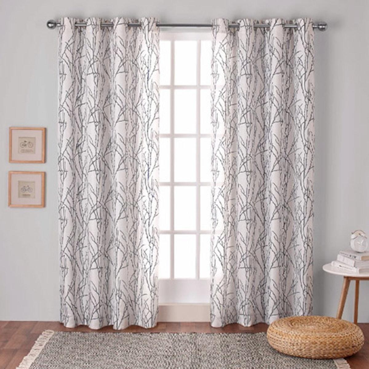 Branches Linen Blend Curtain Panel