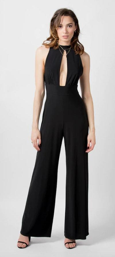 Wide Leg Keyhole Front Jumpsuit in Black