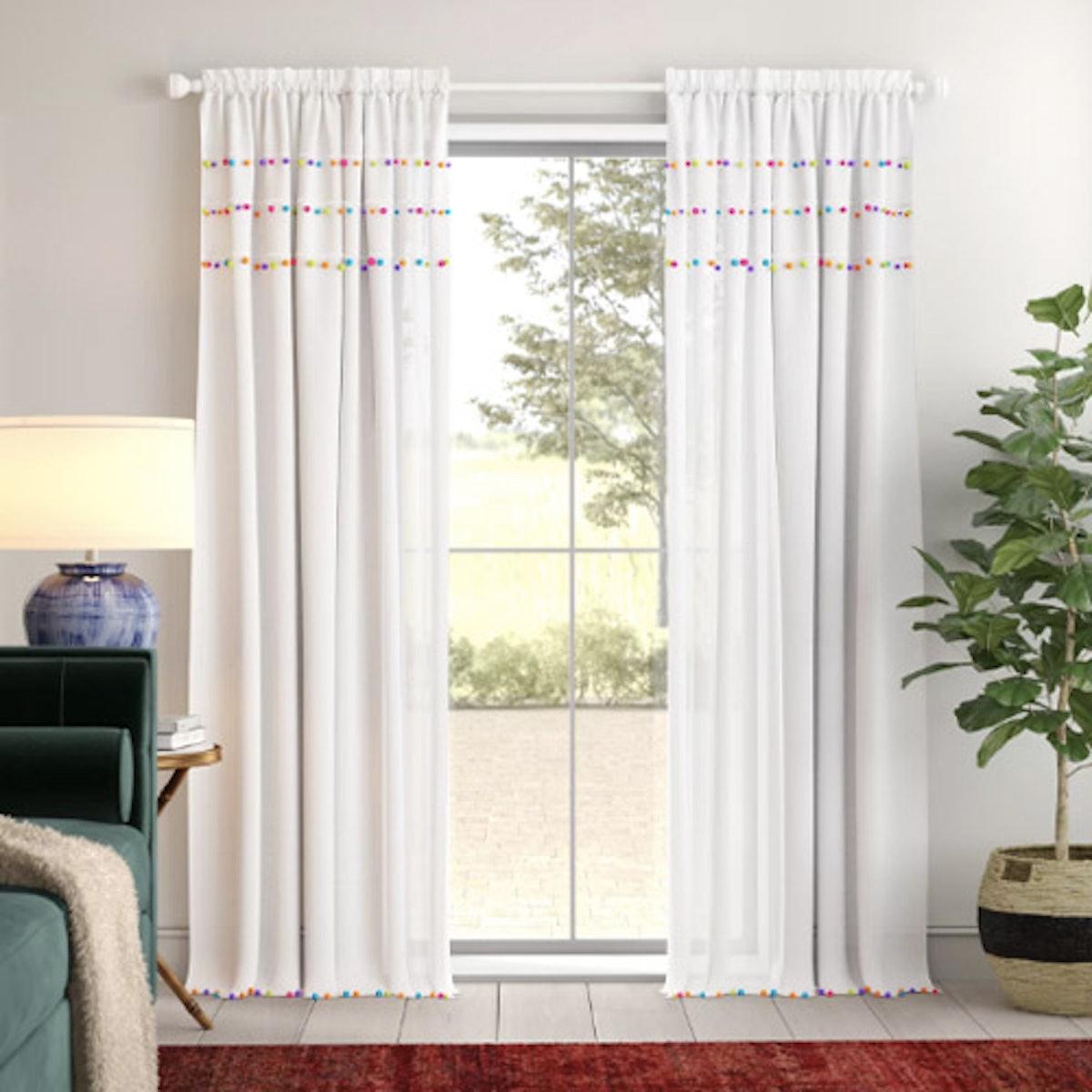 Zosia Pom Pom Solid Rod Pocket Single Curtain Panel