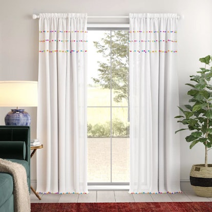 Zosia Pom Pom Solid Rod Pocket Single Curtain Panel