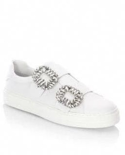 Jeweled Leather Sneakers