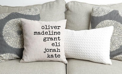 Family Names Throw Pillow Covers