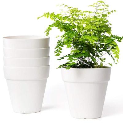 Mkono Plastic Planters, 6.5 Inches (5-Pack)