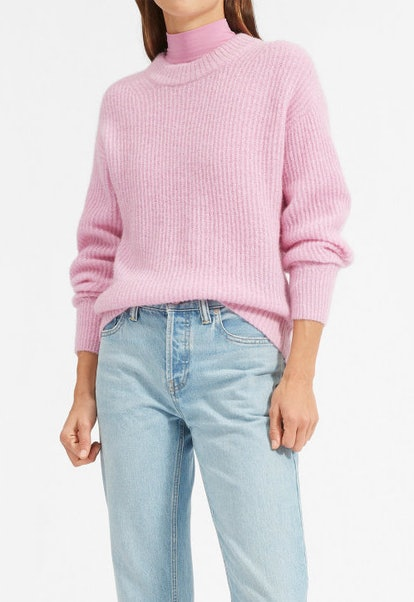 The Oversized Alpaca Crew In Cool Pink