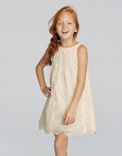 Sleeveless All Over Lace Dress with Scalloped Hem