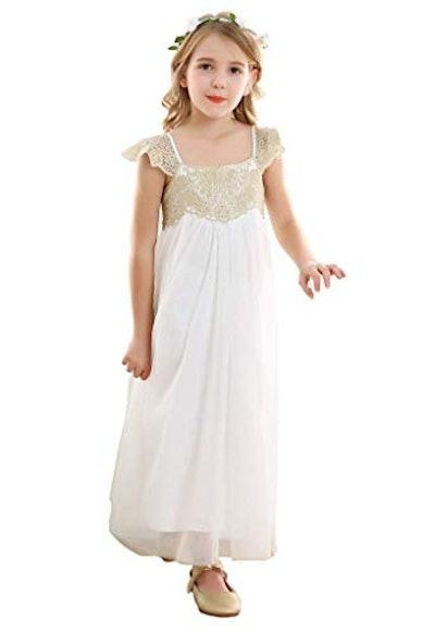 Vintage Rustic Flower Girl's Dress