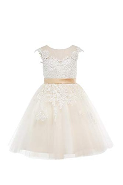 Champagne Lace Flower Girl Dress