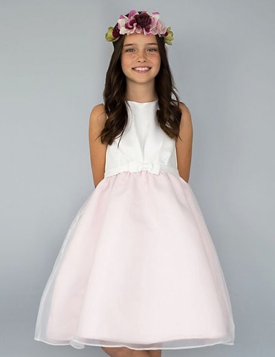Belted Flower Girl Dress with Organza Skirt