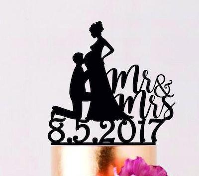 Pregnant Bride Cake Topper
