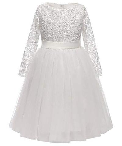 Long Sleeves Lace Flower Girl Dress