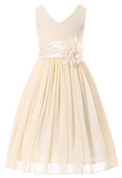 V-Neckline Chiffon Flower Girl Dress
