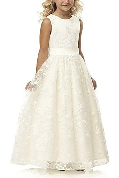 Lace Flower Girl Dress with Belt