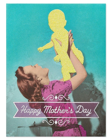 Funny Psycho Mother's Day Greeting Card With Glitter