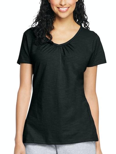 Hanes Women's Slub Jersey Shirred V-Neck T Shirt