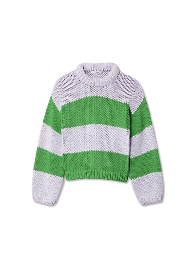 Cropped Striped Cotton-Blend Pullover