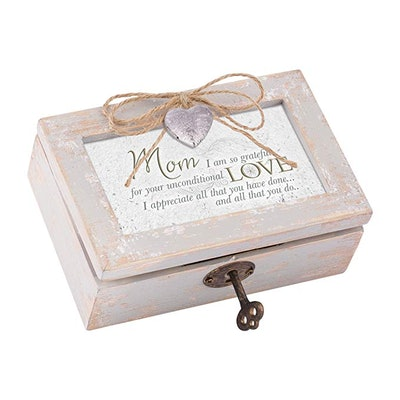 Cottage Garden Mom Grateful for Love Distressed Wood Locket Jewelry Music Box Plays Tune Wind Beneat...