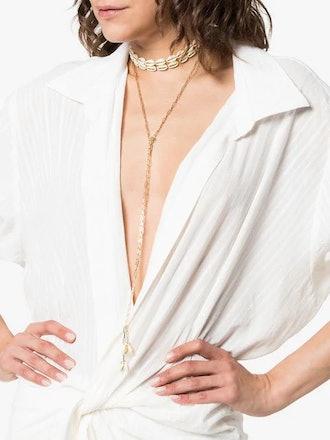 Gold-Tone Shell Choker Necklace
