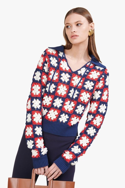 Crochet Clam Sweater Navy Tomato